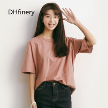 Eal 2017 loose solid color womens top o-neck cotton short-sleeve T-shirt 588