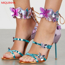 Summer Hot Shoes Metallic Leather Multicolor Butterfly Embellished Women Sandals Open Toe Narrow Strap Ankle Wrap Gladiator Shoe