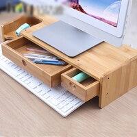 LCD Screen Cabinet Bamboo Computer Increased Shelf Office Supplies Desk Stationery Organizer Storage Rack Keyboard Shelf Bamboo