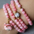 New 6mm Pink Lily Jade Bracelet Lucky Ceramic Cat Pendant Gold Beads Jewelry Bracelet Multilayer Chain Necklace Natural Stone