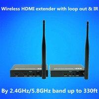 330ft Беспроводной аудио видео Трансмиссия WI FI HDMI адаптер Extender 1080 P HDMI приемник передатчик Комплект 100 м с петлей из и ИК