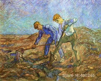 Online Art Gallery Vincent Van Gogh Handmade oil paintings Two Peasants Diging after Millet High quality