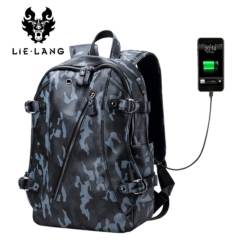 LIELANG Leather Backpack Men Fashion Camouflage Bags High Quality Waterproof Laptop Backpack Computer Backpacks famous brand famous brand school backpack the avengers captain america iron man fashionable laptop backpacks high quality leather