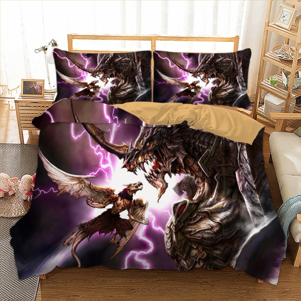 3 Pieces(1 Duvet Cover with 2 Pillowcase)Duvet Cover Set Iron Lightning Pterosaurs Two Shiny Printed Purple/Black Bedding Set 3 Pieces(1 Duvet Cover with 2 Pillowcase)Duvet Cover Set Iron Lightning Pterosaurs Two Shiny Printed Purple/Black Bedding Set