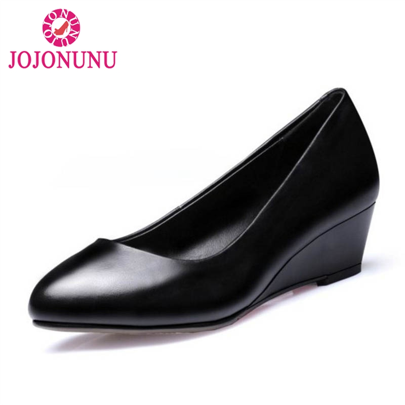 FITWEE Genuine Leather Women S Pumps Classic Round Toe Wedges Low Heels Shoes Women Black Business
