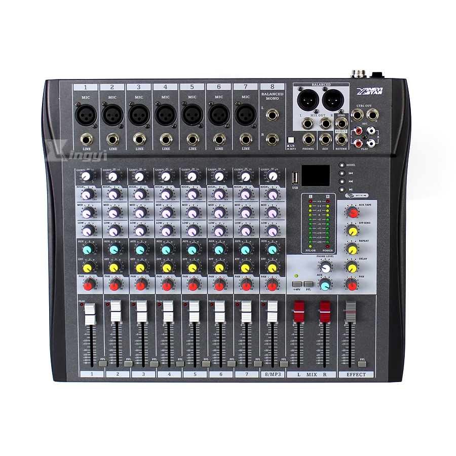 Professional 8 Channel USB DJ Audio Mixer Karaoke Microphone Console 3-Band EQ Sound Effects For Video Recording Power Amplifier audio mixer cms1600 3 cms compact mixing system professional live mixer with concert sound performance digital 24 48 bit effects