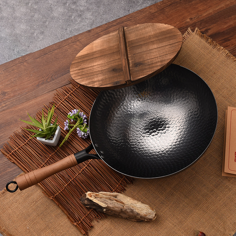 30/32/34cm Forged Hammer Iron Wok Stone Uncoated Physical Non stick Pan Cast Iron Round Dumpling Pan Kitchen Pots Cooking Pans|Woks| |  - title=