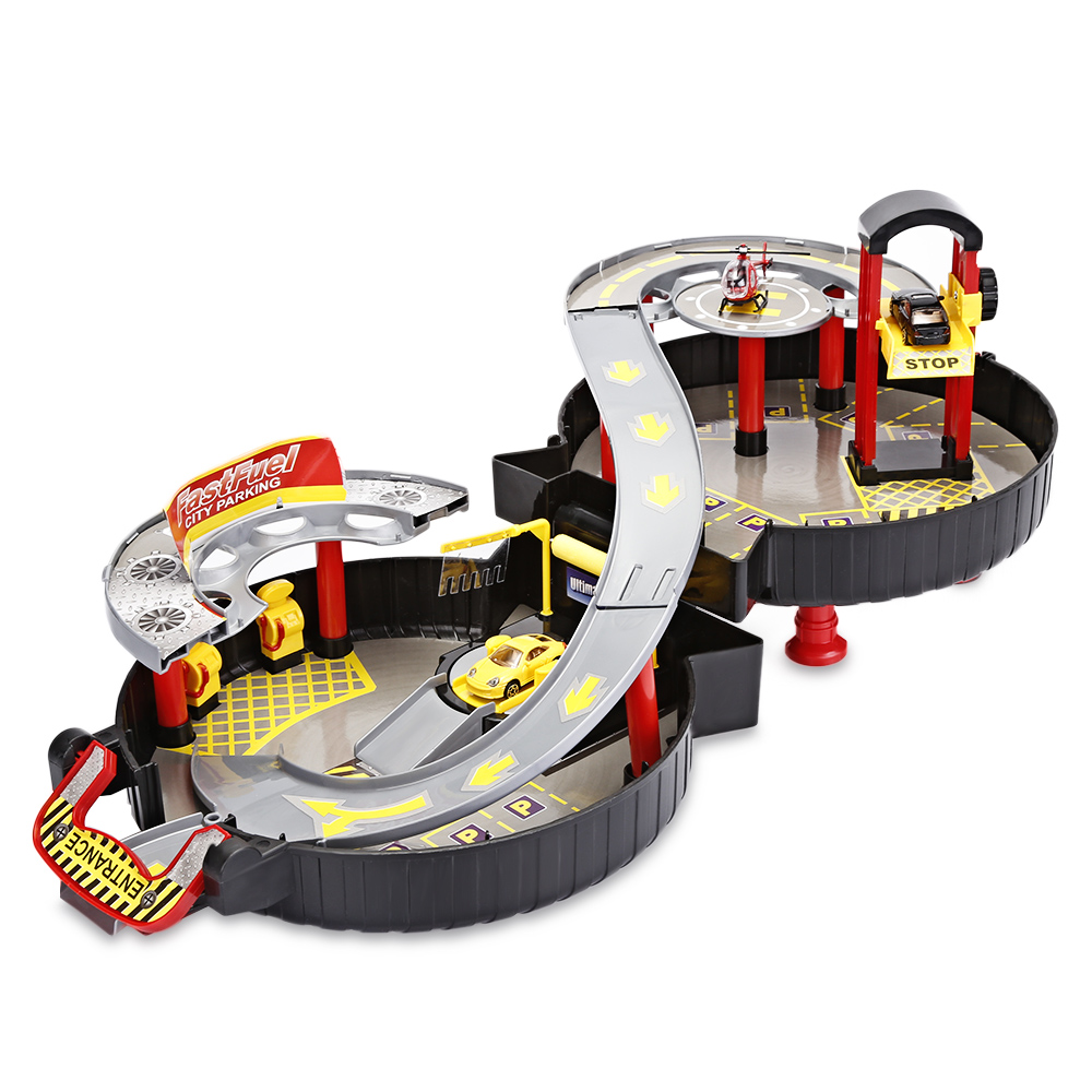 Kids Raceway Car Play Set Parking Toys Model Building 2 Vehicles And 1 Helicopter Kits W ...