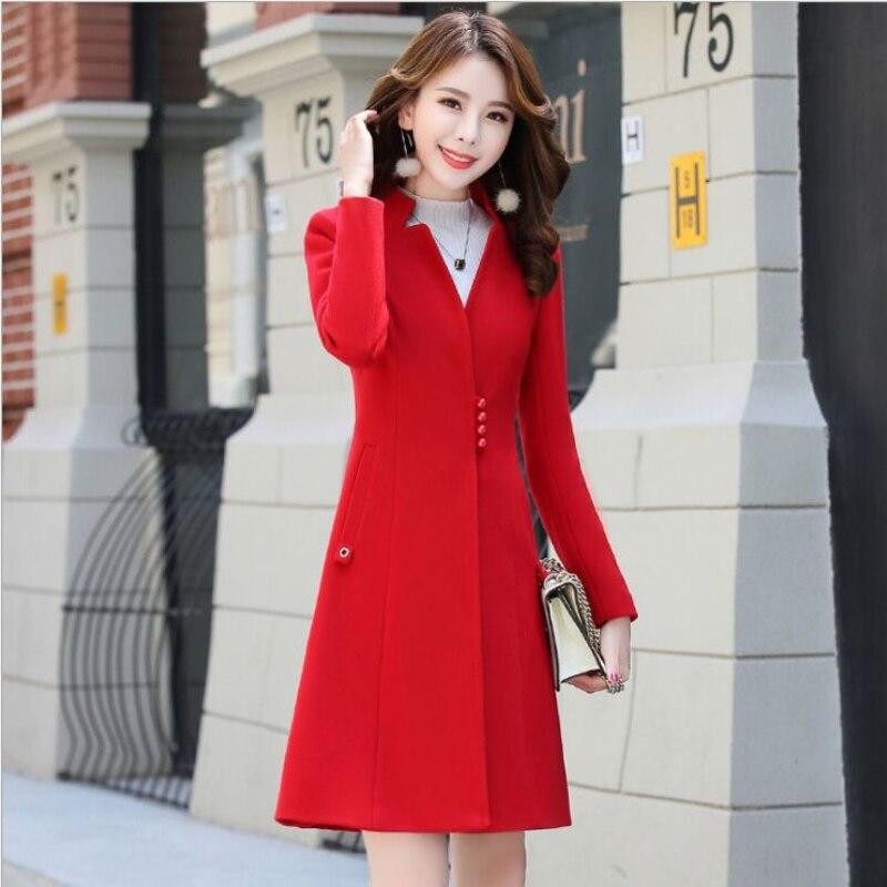 2018 Winter Neue Koreanische Frauen Lange Woll Mantel Weibliche Elegante Dünne Klage Kragen Hohe Taille Schlank Solide Farbe Outwear Woolen jacke-in Wolle & Mischungen aus Damenbekleidung bei  Gruppe 1