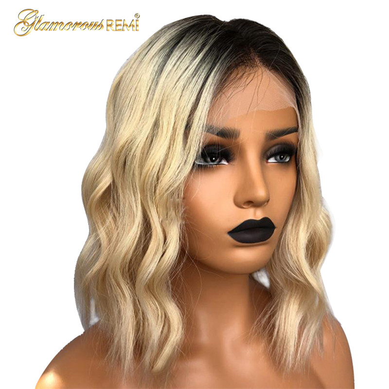 Human Hair Lace Wigs Hair Extensions & Wigs Brazilian 1b 613 Ombre Colored Front Wavy Lace Bob Wigs With Baby Hair Glueless 150% Density Natural Hairline Virgin Hair Wigs