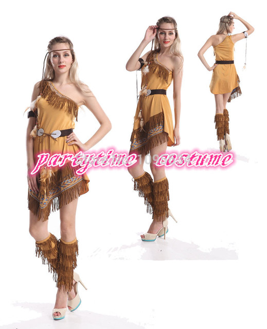 free pp ladies pocahontas native american indian wild west fancy dress party costume indian costume halloween - Native American Costume Halloween