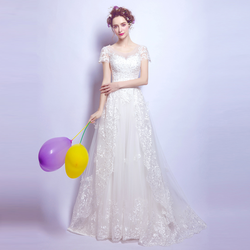 Angel Wedding Dress Marriage Bride Bridal Gown Vestido De Noiva 2017 Bud silk, nail bead, the small tail, big bowknot 6700