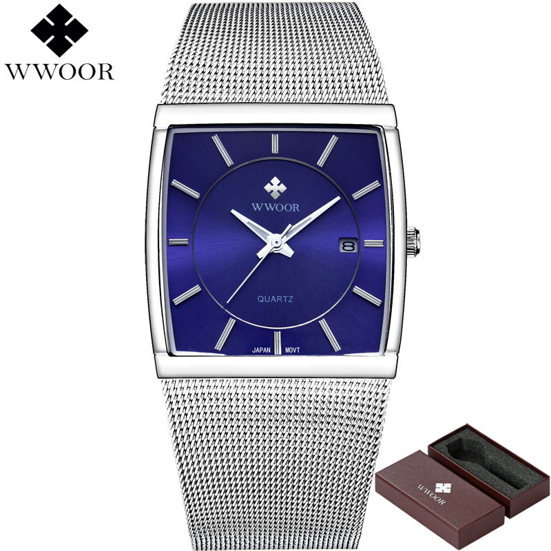 WWOOR Men Watches Quartz Square Waterproof Business Watch Men Top Brand Luxury Stainless Steel Sport Wrist Watch Male Blue Clock wwoor men watches waterproof ultra thin quartz clock male gold mesh stainless steel watch men top brand luxury sport wrist watch