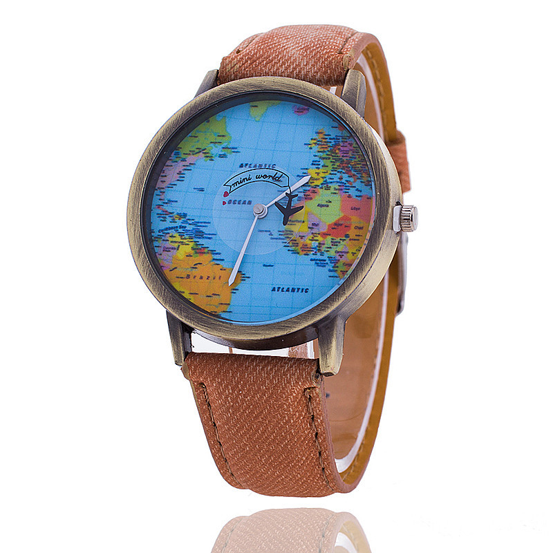 Fashion Retro Men /women's Watches Creative Map Leather Dial Clock Casual Clothing Watches For Teenagers Female Watch
