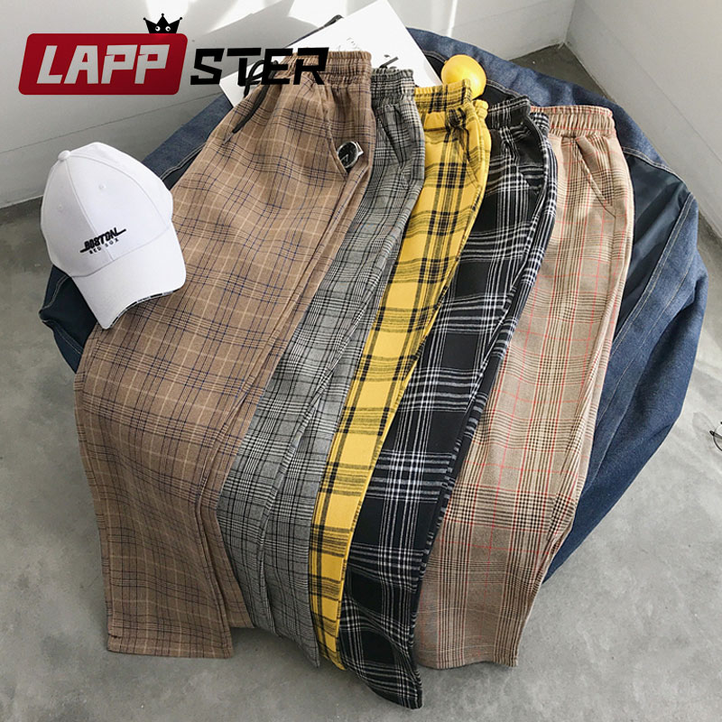 LAPPSTER Mulheres Streetwear Calças Xadrez 2019 Harajuku Cintura Alta Calças Corredores Moletom Estilo Coreano Senhoras Outono Plus Size