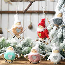 Kawaii Love Angel Skiing Christmas Decoration Pendant Cute Christmas Tree Hanging Decoration Doll Xmas Party Decor Kids Gifts цена