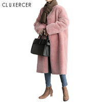 2018 New Korea Style Warm Winter Faux Fur Coat Women Elegant Pink Soft Long Jacket Female Casual Autumn Coat Cardigan