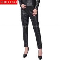 Plus Size Fashion Winter Women High Quality Sheep Skin High Waist Office Formal OL Black True