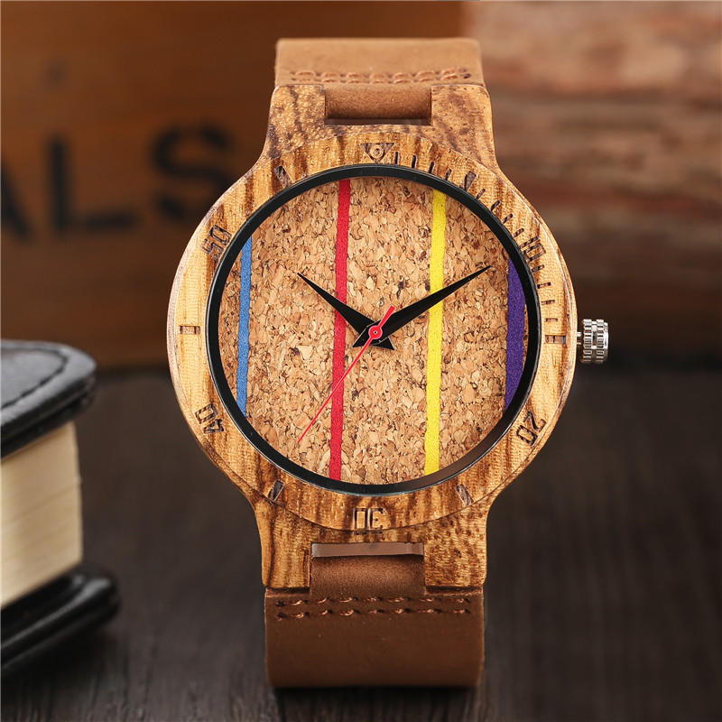 Mens Creative Wooden Watch Bamboo Handmade Genuine Leather Band Strap Analog Quartz Wood Wristwatch Gift hand made mens wooden bamboo quartz watch black genuine leather watchband simple unique modern wristwatch gift for male female