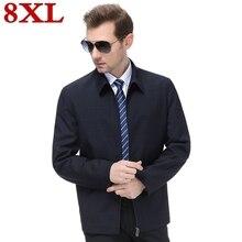 купить!  Новый плюс размер 8XL 7XL 6XL Бизнес Повседневная мужская куртка Пальто Весна Осень Мужской Классиче