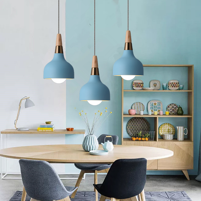 Kitchen Pendant Lights Bedroom Modern Ceiling Lamp Shop Wood Lighting Bar Office Blue Light Home Indoor Lights Bulb For Free metal pendant light nordic style pendant lights office furniture simple modern lighting contains bulb free shipping