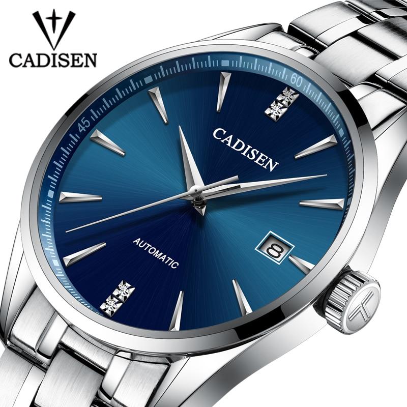 Genuine Luxury CADISEN Brand Men Full Steel Automatic Mechanical Male Self-wind 50M Waterproof Cruve Surface Ultrathin Watch
