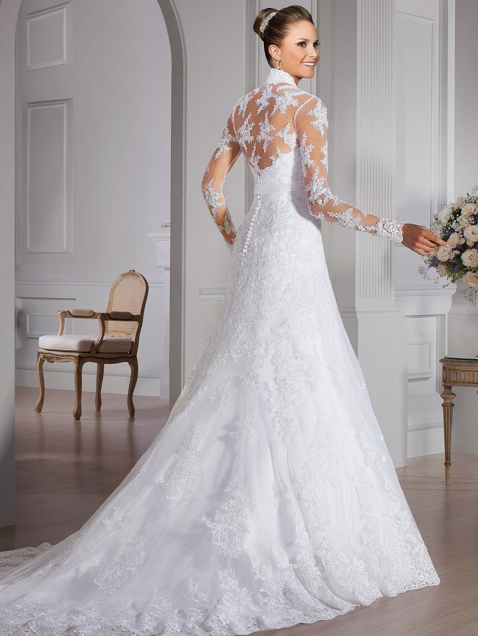 Vintage Muslim Long Sleeves Wedding Dress Full Lace Back Mermaid Gown High Neck Bridal A232 In Dresses From Weddings Events On