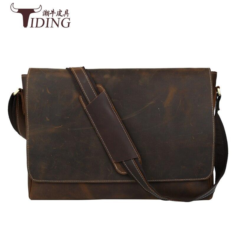 Crazy Horse кожаный мужской портфель для ноутбука Сумки Топ мужские портфель мужской Сумки на плечо Пояса из натуральной кожи высокое качество В