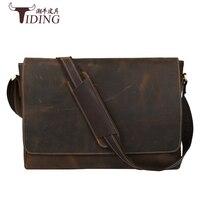 Crazy Horse leather men's briefcase laptop bags top mens briefcase mens Shoulder Bags Genuine Leather High Quality Vintage Bag