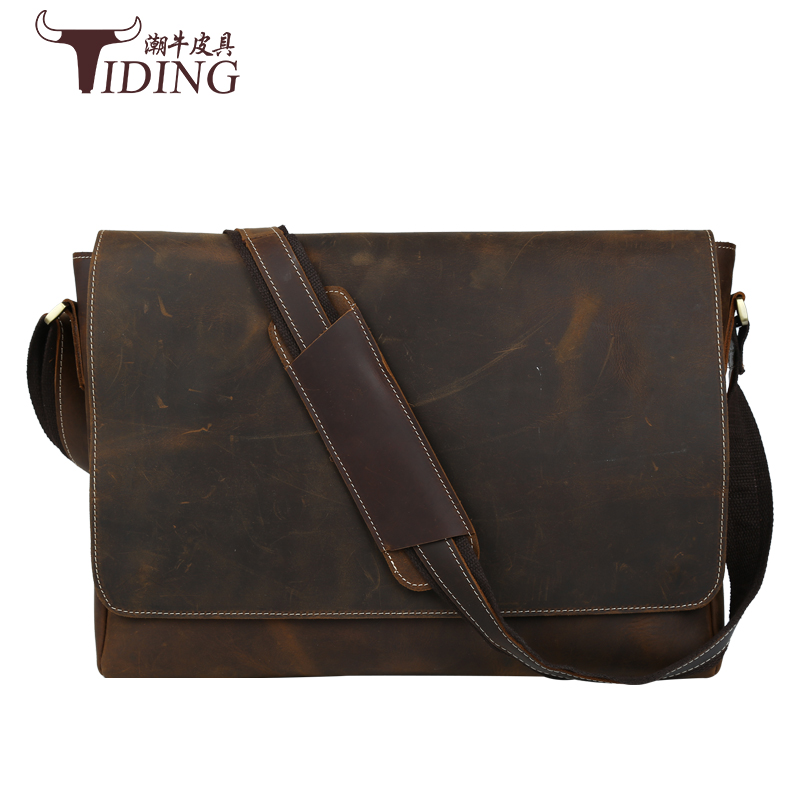Crazy Horse Leather Men's Briefcase Laptop Bags Top Mens Briefcase  Mens Shoulder Bags Genuine Leather High Quality Vintage Bag