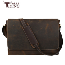 Crazy Horse leather mens briefcase laptop bags top Shoulder Bags Genuine Leather High Quality Vintage Bag