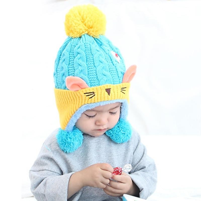 Cute Baby Winter Hat 2017 Warm Infant Beanie Cap For Children Boys Girls Animal Cat Ear Kids Crochet Knitted Hat