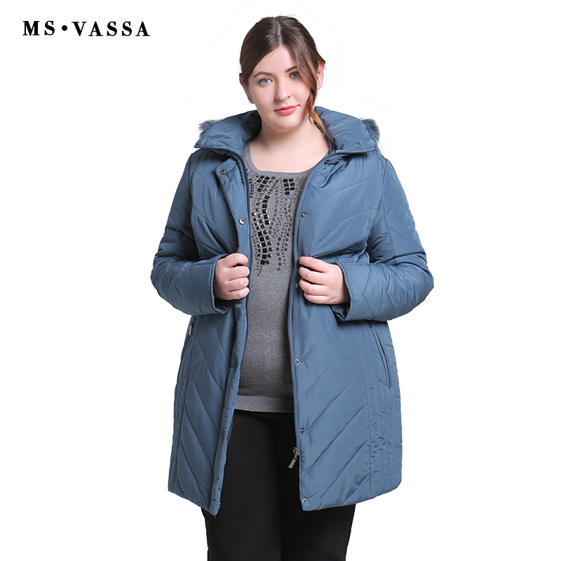 MS VASSA Plus Size Women Coats 2018 New Ladies   Parka   Winter Jacket Women Turn-down collar   Parkas   Hood with fur Big Size outwear
