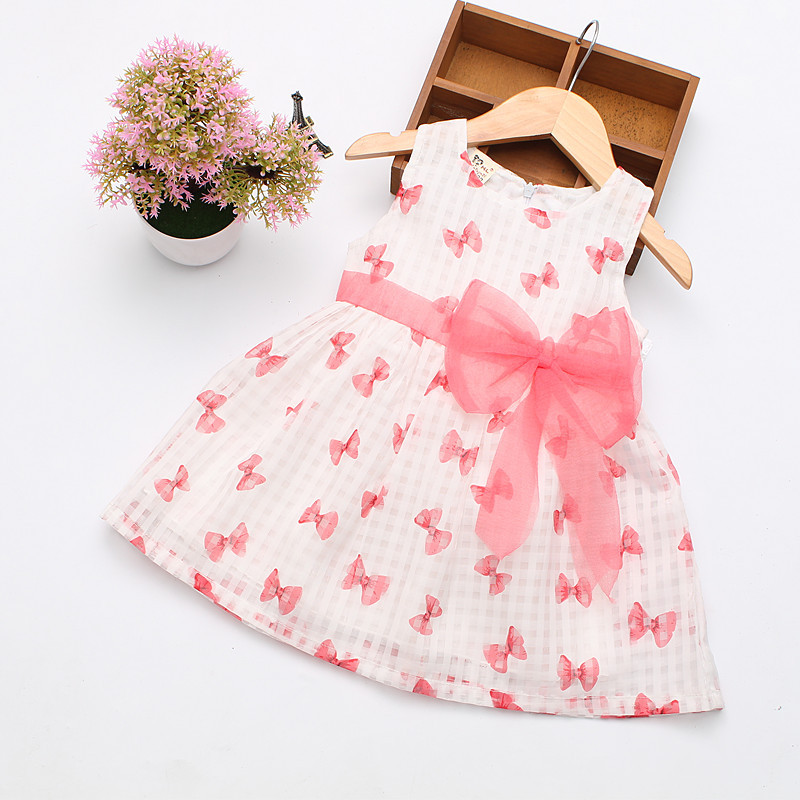 2016 Super Deal Sommer Cotton Baby Kjole Prinsesse Kjole Puff Ermeløs Søt Fasjonabel Baby Infant Kjole 0-2 Years