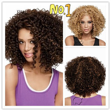 Free shipping African American Wigs Synthetic Fiber Lace Front Short Afro kinky Curly Hair Wigs for Black Women sw0444