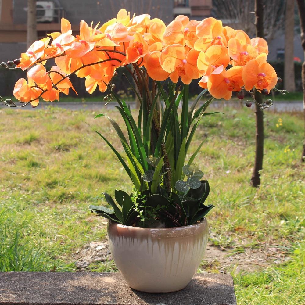 오렌지 난초 일몰 색상 진짜 터치 꽃 잎 인공 난초 큰 난초 꽃꽂이 구성 꽃병 없음-에서인공 & 건조 꽃부터 홈 & 가든 의  그룹 1
