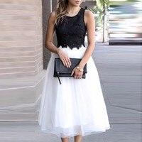 595e02f23b ... clásica Faldas mujeres. Exquisite Black Tulle Skirt Custom Made Zipper  Waistline A Line Tee Length Midi Skirt Simple Classical