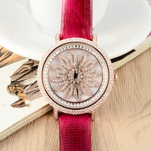 GOOD LUCK Rotating Sunflower Women Crystals Watches Light Extravagant Lady Dress Wrist watch Leather Quartz Relojes 45MM W052
