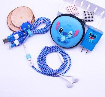 Мультяшный USB кабель для защиты наушников набор с коробкой для наушников наклейки для намотки кабеля Спиральный шнур протектор для Samsung S6 S7