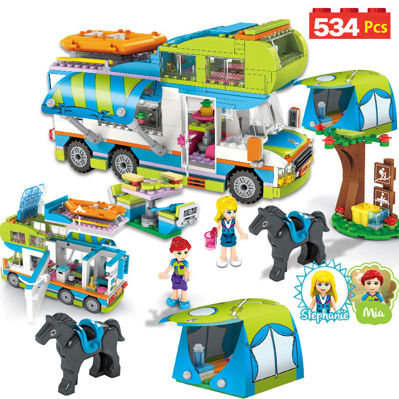 534pcs City Outing Camper Bus Car Girls Figures Building Blocks Compatible Legoings Friends Bricks Educational Toys for Girls534pcs City Outing Camper Bus Car Girls Figures Building Blocks Compatible Legoings Friends Bricks Educational Toys for Girls
