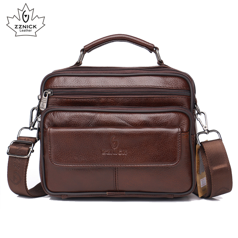 Genuine Leather Men's Handbag Shoulder Bag Leather Crossbody 2019 Messenger Bag For Male Fashion Flap Zipper Hasp Handbag ZZNICK