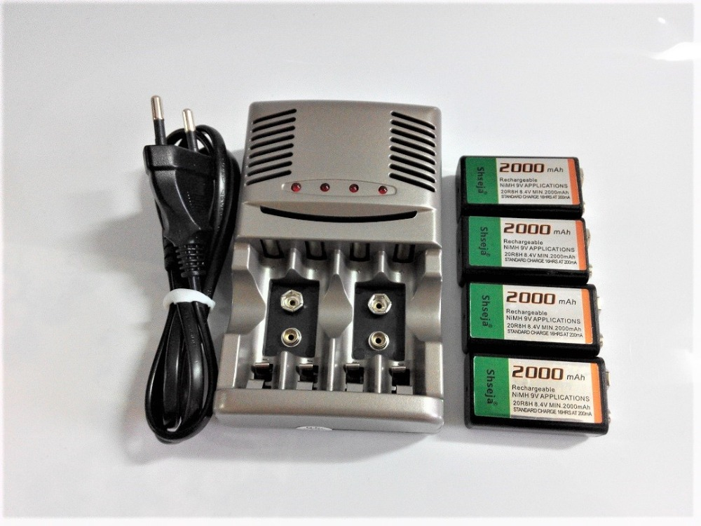 NEW charger ! 4PC 2000mah 9V NiMH rechargeable Set, 9v rechargeable battery + 1pcs Universal 9v aa aaa battery charger