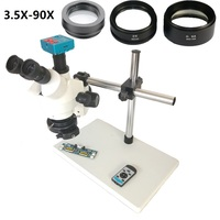 1080P 30MP HDMI USB C Mount Video Camera 3.5X 90X simul focal Continue Trinocular Microscope Phone Soldering PCB Repair Tools