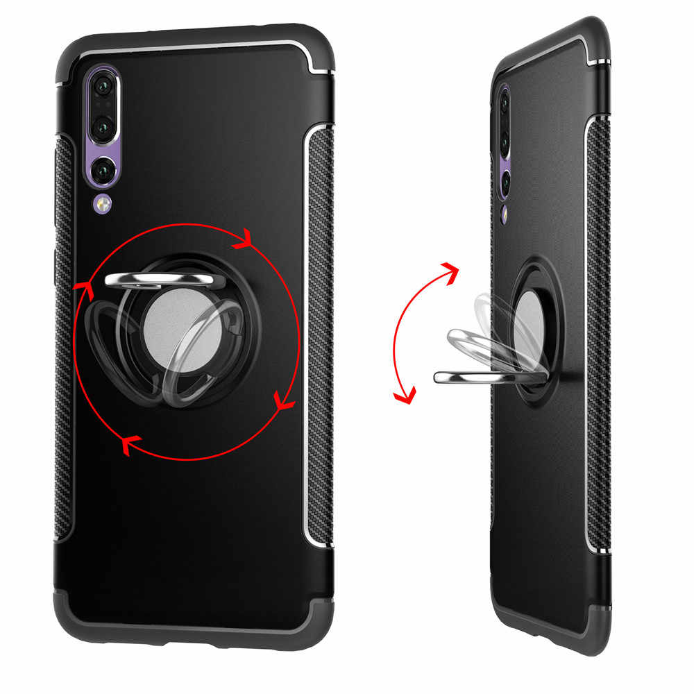 With 360 Finger Ring Holder for Huawei P20 Lite P10 P9 MATE 10 Lite 9 Pro G10 Cover Hybrid Case Fits Magnetic Car Suction Stand