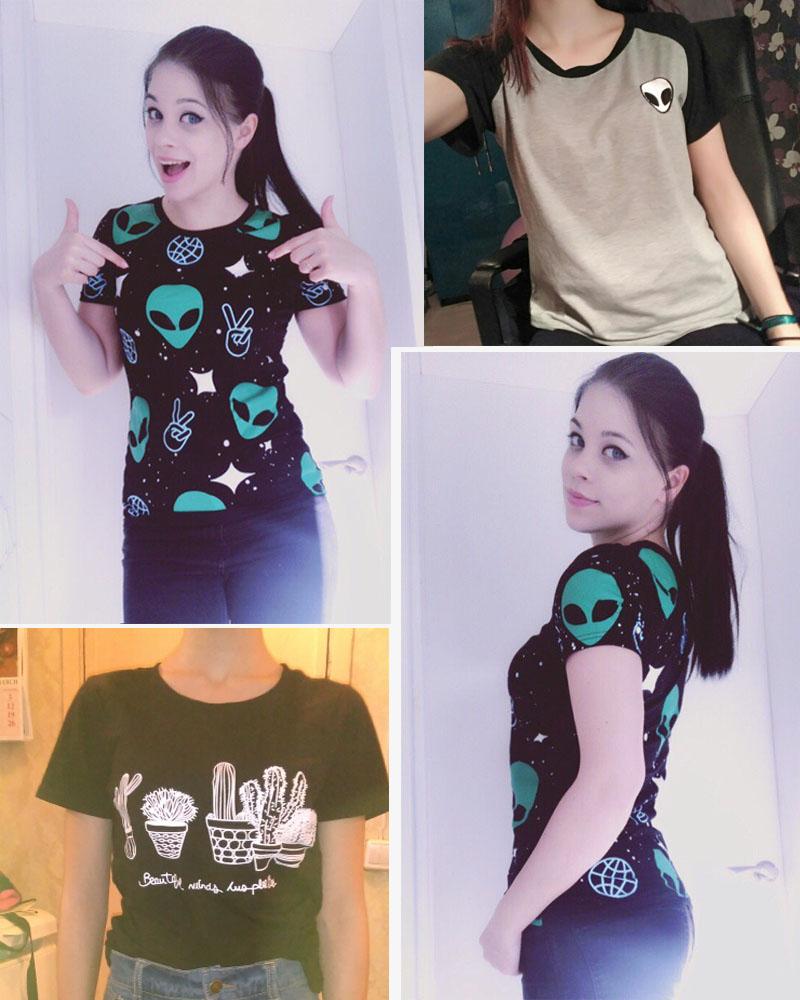 HTB10WxeRVXXXXXGXpXXq6xXFXXXv - Punk Alien ET Print Black Short Sleeve T Shirt