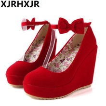 XJRHXJR Platform Women's Pumps Sexy High Heels Bow Wedges Shoes for Woman Flock Wedding Party Shoes Autumn Summer