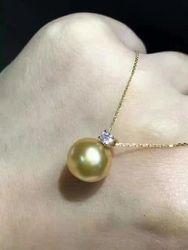 Wunderschöne AAA11-12mm südsee gold perle halskette 18inch18//k