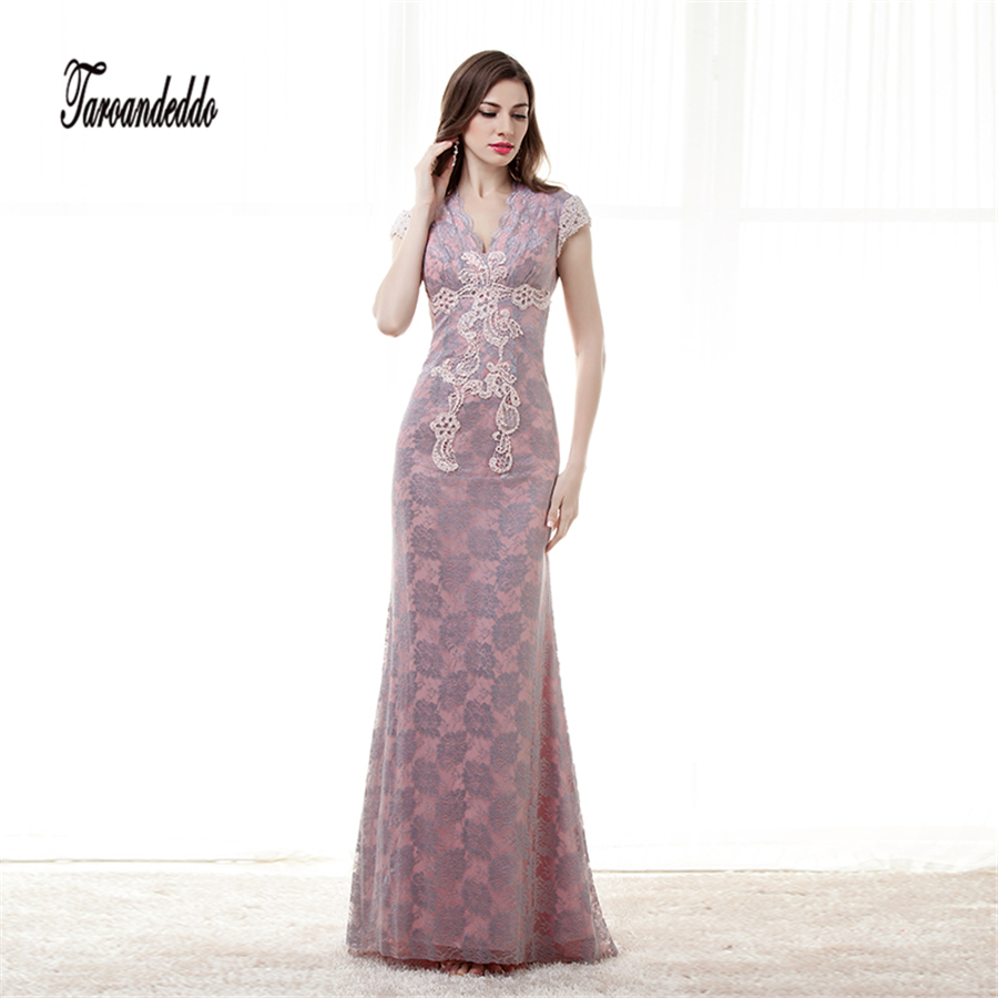 Lace Cap Sleeves V-neck Purple Lace Prom Dress Open Back Evening ...
