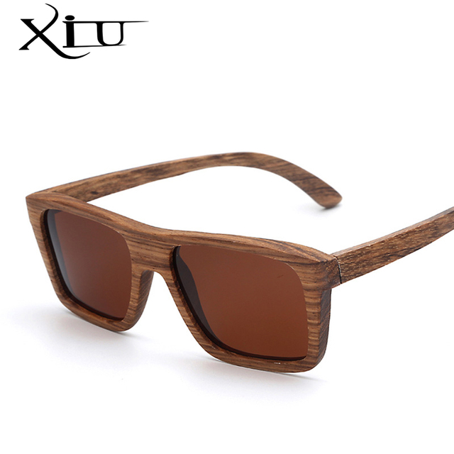 XIU Square Zebra Wood Sunglasses Men POLARIZED Flash Mirror Fashion Glasses Brand Designer Women Vintage Oculos
