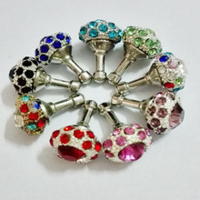 100PCS Rhinestone Anti Dust Plug 3.5mm Earphone Cap Cute Crown For iPhone 6 5 5S 5C 4S 4 Samsung Mobile Phone carini Accessories